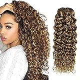 Hetto Curly Hair Extensions Clip in Human Hair Brown Highlight Blonde Clip in Hair Extensions Curly Human Hair 14 Inch Wavy Clip in Extensions Remy Hair 7Pcs 100g