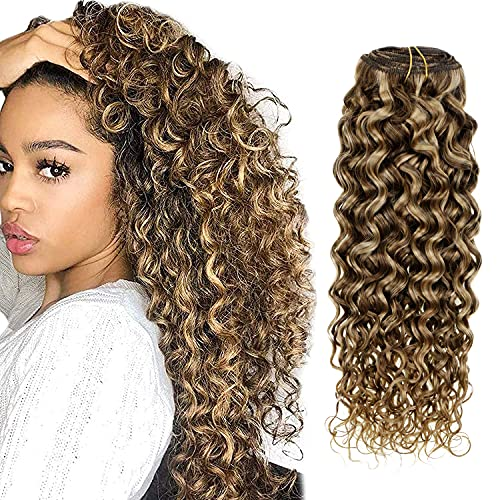 Hetto Curly Hair Extensions Clip in Human Hair 20 Inch Brown Highlights Blonde Natural Wavy Clip in Hair Extensions 100g 7 Pieces Clip in Extensions Real Human Hair
