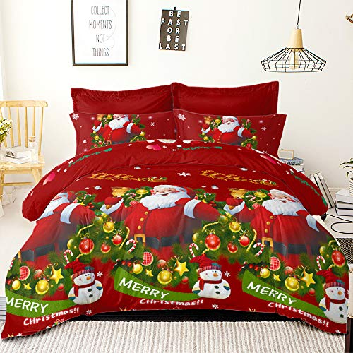 YC Merry Christmas Bedding Set Snowman with Hat Happy Santa Claus Comforter Covers Snowflake Winter Cover Sets, Queen Size Duvet Cover + 2 Pillowcases (NO FILLINGS)