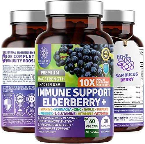 Premium Immune Support Booster Powerful 10 in 1 Elderberry Zinc Vitamin C E B6 Echinacea Garlic product image