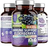 Premium Immune Support Booster, Powerful [10-in-1] Elderberry, Zinc, Vitamin C, E, B6, Echinacea, Garlic, Probiotic & Turmeric Blend. High Potency, 60 Veg Caps