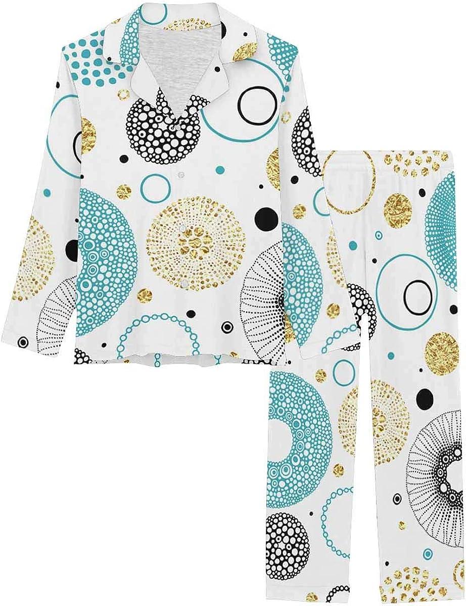 InterestPrint Long Sleeve Button Down Nightwear with Long Pants Print of Circles