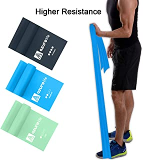 A AZURELIFE Resistance Bands Set, Professional Non-Latex Elastic Exercise Bands, 5 ft. Long Stretch Bands for Physical Therapy, Yoga, Pilates, Rehab, at-Home or The Gym Workouts, Strength Training