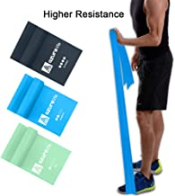 A AZURELIFE Resistance Bands Set, Professional Non-Latex Elastic Exercise Bands, 5 ft. Long Stretch Bands for Physical The...