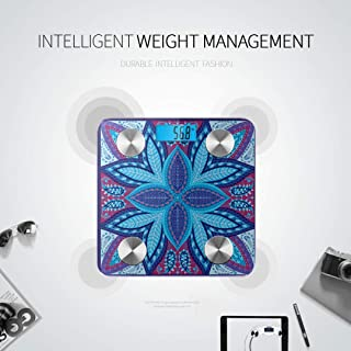 LYAOE Bluetooth Body Fat Scale India Paisley Pattern Decorative Ornament Smart Wireless Scale with LCD Display Measuring Body Weight Bmi and Health Digital Scale