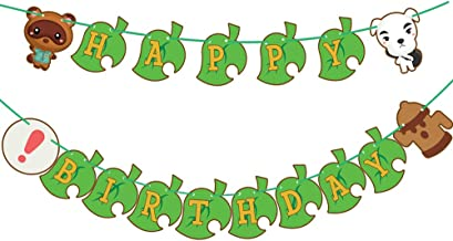 Animal Birthday Party Banner,Video Game Theme Party Supplies Animal and Green Leaf Banner for Happy Birthday Party Decorations