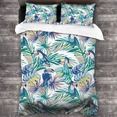 3-Piece Bedding Set Hand Drawn Tropical Palm Leaves, Flowers, Birds 100% Natural Polyester,1 Duvet Cover And 2 Pillowcases,Ultra Soft And Breathable