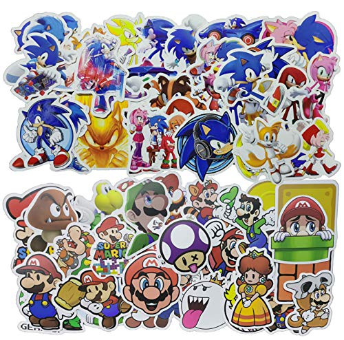 Sonic Super Mario Sticker 100 PCS Anime Cartoon Super Mario Pegatinas para Chidren Kids Toy Waterproof Sticker para DIY Laptop Bicicletas Casco Coche Calcomanías