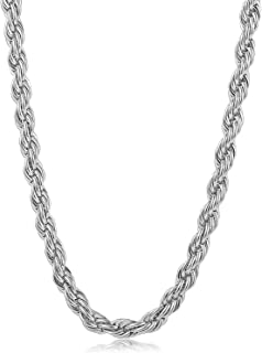 14K White or Yellow Gold Solid 6MM Diamond Cut Rope Chain Necklace w/Real Strong Lobster Claw Clasp f/Men or Women Thin for Pendants, Charms 22-28inches