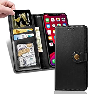 For iPhone 11 Pro Wallet Case with Card Holder Slot, PU Leather Flip Folio Kickstand Shockproof Protective Cover with Magnetic Closure and Strap Lanyard, Compatible with iPhone 11 Pro 5.8 inch Black