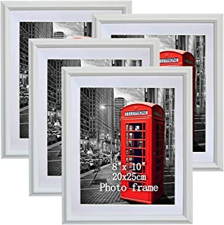 PETAFLOP 8x10 Picture Frames White 8 x 10 Decorative Poster Frame Wall Display, Set of 4pcs