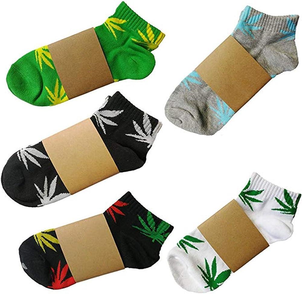 5 Pairs Unisex Marijuana Weed Leaf Printed Cotton Short Boat Socks Casual Ankle Socks US 5-9.5