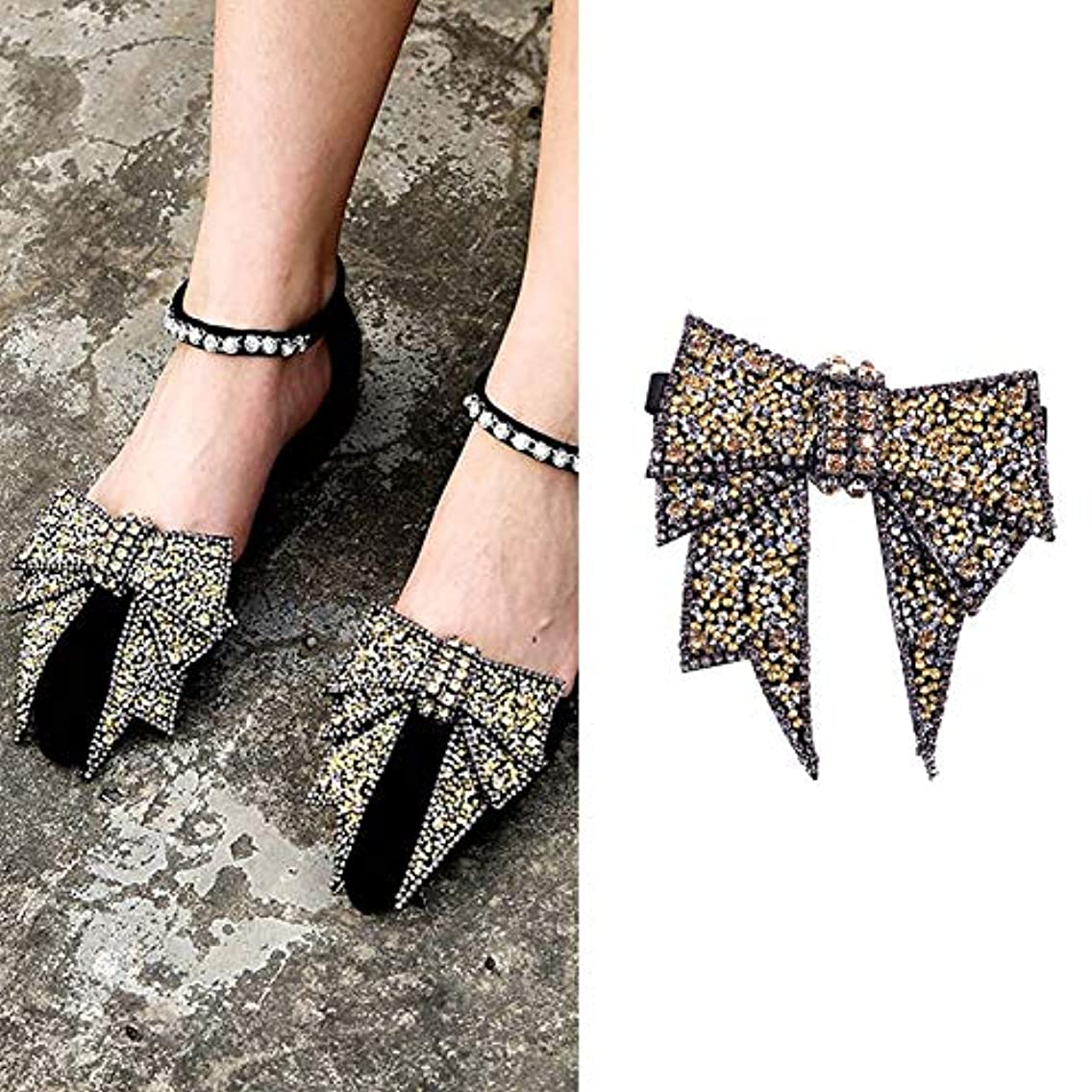 2PCS DIY Handmade Rhinestone Bow Butterfly Shoe Straps Band Shoe Flower Accessories Shoes Decoration Charms Flats High Heels/Pumps Holder Shoe Decor for Lady Women (Style B#)