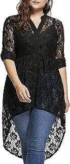 GAOXINGQU Women's Plus Size Sexy Lace Crochet V-Neck High Low Button Blouse (Color : Black, Size : 4XL)