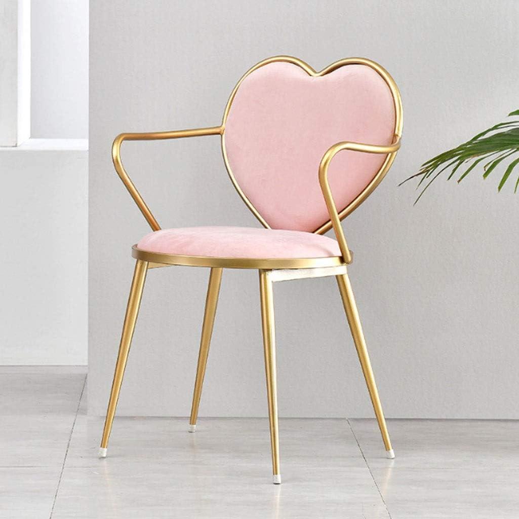 Fauteuil Rembourré Scandinaves,pour Bureau Salon Salle a Manger Cuisine Chambre Maquillage Princess Room Fauteuil (Color : Pink) Pink