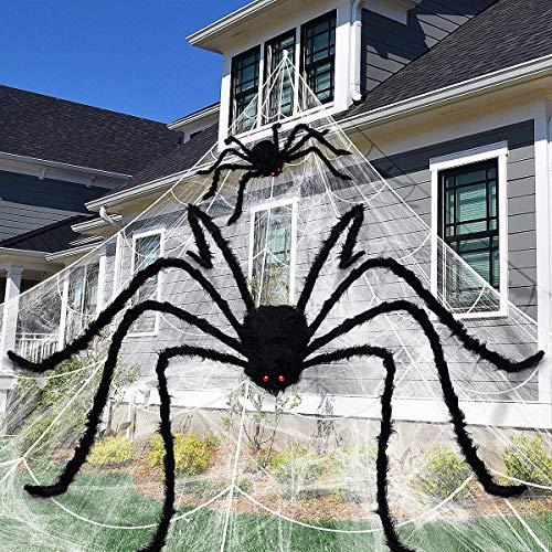 Unomor, Ragnatela Gigante Che Si Illumina al Buio, Decorazione per Halloween, Giardino, Cortile, 58,4 x 5,4 m