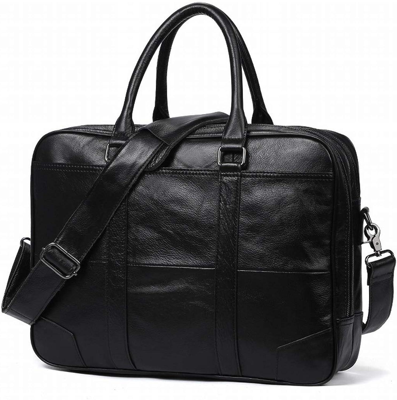 Jsfnngdv Männer Vintage Aktentasche Business Handtasche Leder Schultertasche Messenger Messenger Messenger Bag Umhängetasche (Farbe   schwarz) B07P93S2W4 0b2dd7