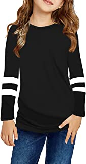 Ebifin Girls Casual Short/Long Sleeve T Shirts Kids Loose Tunic Tops, Color Block Cotton Tee Blouses Size 4-15