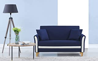 Divano Roma Furniture Modern 2 Tone Small Space Linen Fabric Loveseat (Blue)
