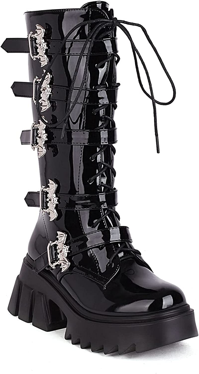 WETKISS Women's Mid Calf Boots Harness Boots Patent Leather Bat Buckle Ankle Boots Side Zipper Square Toe Thick Platform Fashion Shoes