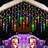 Toodour Christmas Icicle Lights, 29.5ft 360 LED, 8 Modes, Window Curtain Fairy Lights with 60 Drops, Led Icicle Fairy Twinkle Lights for Party, Holiday, Wedding Decorations (Multicolor)