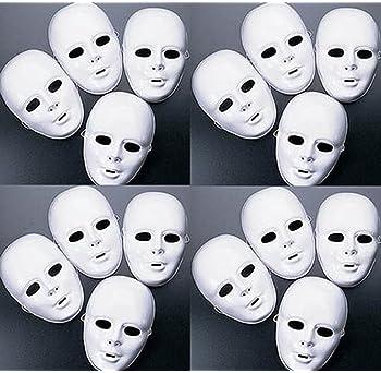 FX Lot of 24 Masks White Plastic Full Face Decorating Craft Halloween School