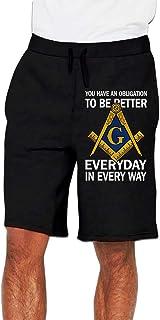 フリーメーソン Freemasons 友愛結社 ハーフパンツ ショートパンツ 7分丈 ボトムス トレーニングウェア フィットネス スポーツ ランニング 吸汗速乾ズボン カジュアル ゆったり メンズ