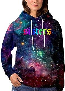 Ja-mes Char-les Rainbow Sis-ters Womens Galaxy Hoodies Sweatshirts Printed Hip Hop Pullover Sweater with Pocket