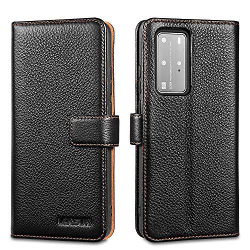 LENSUN Echtleder Hülle für Huawei P40 Pro, Leder Handyhülle Kartenfächer Handytasche Lederhülle kompatibel mit Huawei P40 Pro(6,58 Zoll) – Schwarz(P40P-LG-BK)