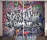 ABAKUHAUS Städtisch Rustikaler Vorhang, Graffiti Grunge Wandkunst, Wohnzimmer Universalband Gardinen mit Schlaufen und Haken, 280 x 260 cm, Mehrfarbig