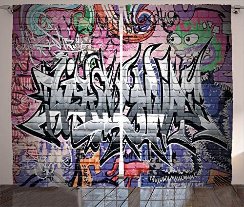 ABAKUHAUS Pared de ladrillo Cortinas, Graffiti Arte de la Pared de Grunge, Sala de Estar Dormitorio Cortinas Ventana Set de Dos Paños, 280 x 245 cm, Multicolor