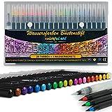Künstler Wasserfarben Pinselstifte - 20 Farben - Aquarellstifte-Set - Weiche & Flexible Echte Pinselspitzen - zum Malen Ausmalen Zeichnen Basteln & Kalligraphie