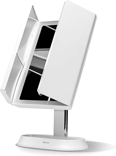 Fancii LED Lighted Makeup Mirror with 3 Color Modes, Rechargeable Trifold Vanity Mirror with 1x, 5x, 7x Magnification...