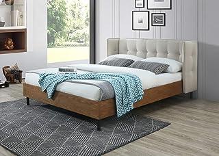 Salty Lit capitonné en tissu beige clair 160 x 200 cm avec tête de lit rembourrée et support de matelas en bois Montage fa...