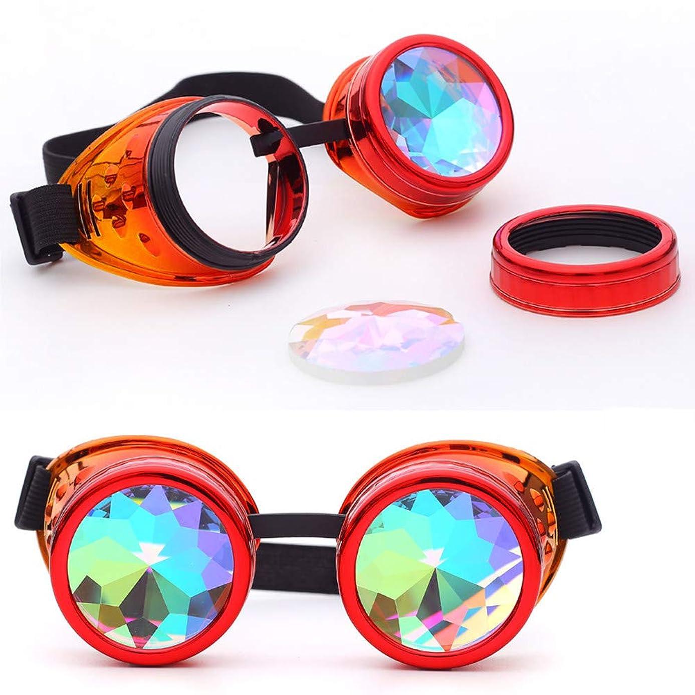 Sunglasses for Women Myoumobi_ Kaleidoscope Steampunk Rave Glasses Goggles with Rainbow Crystal Glass Lens