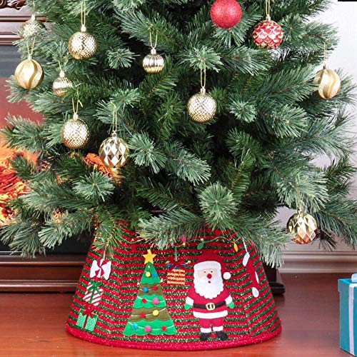 Yomikoo Christmas Tree Collar, Tree Ring with Santa and Christmas Tree Pattern Tree Stand Band for X'Mas Tree,Home Decoration