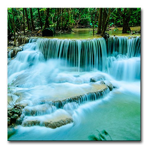 Amazon Com Wall Art Decor Poster Painting On Canvas Print Pictures Huay Mae Khamin Paradise Waterfall Forest Of National Park Kanchanaburi Thailand Landscape Waterfall Framed Picture For Home Decoration Artwork Posters Prints