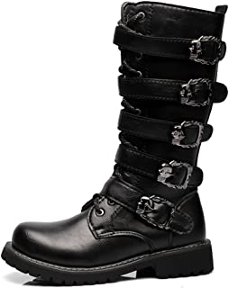 Hilotu Cool Shoes for Men's Lace Up Belt Buckle Leather Upper Mid Calf Combat Boots for Gentlemen Run A Size Larger (Color : Black, Size : 7 D(M) US)