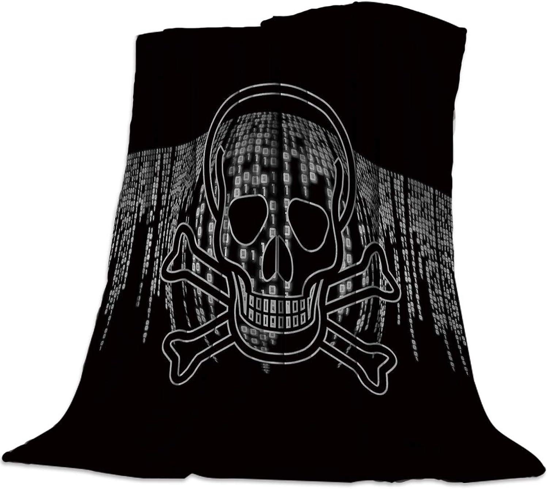 YEHO Art Gallery 49x59 Inch Flannel Fleece Bed Blanket Soft ThrowBlankets for Girls Boys,Horrible Skeleton Skull Head Pattern,Cozy Lightweight Blankets for Bedroom Living Room Sofa Couch