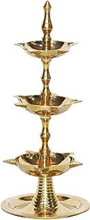 Craftsman Diwali Gift/Diwali Deepawali Decoration Handmade Indian Heavy Brass 3 Steps Kerala Panchmahal Diya 9 inch Lamp Engraved 3 in 1 Adjustable Dia. Indian Gift Items