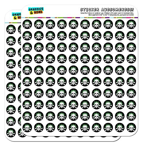 Skulls Crossbones Dad Stick Figure Family Father 1/2' (0.5') Planner Calendar Scrapbooking Crafting Stickers - Opaque