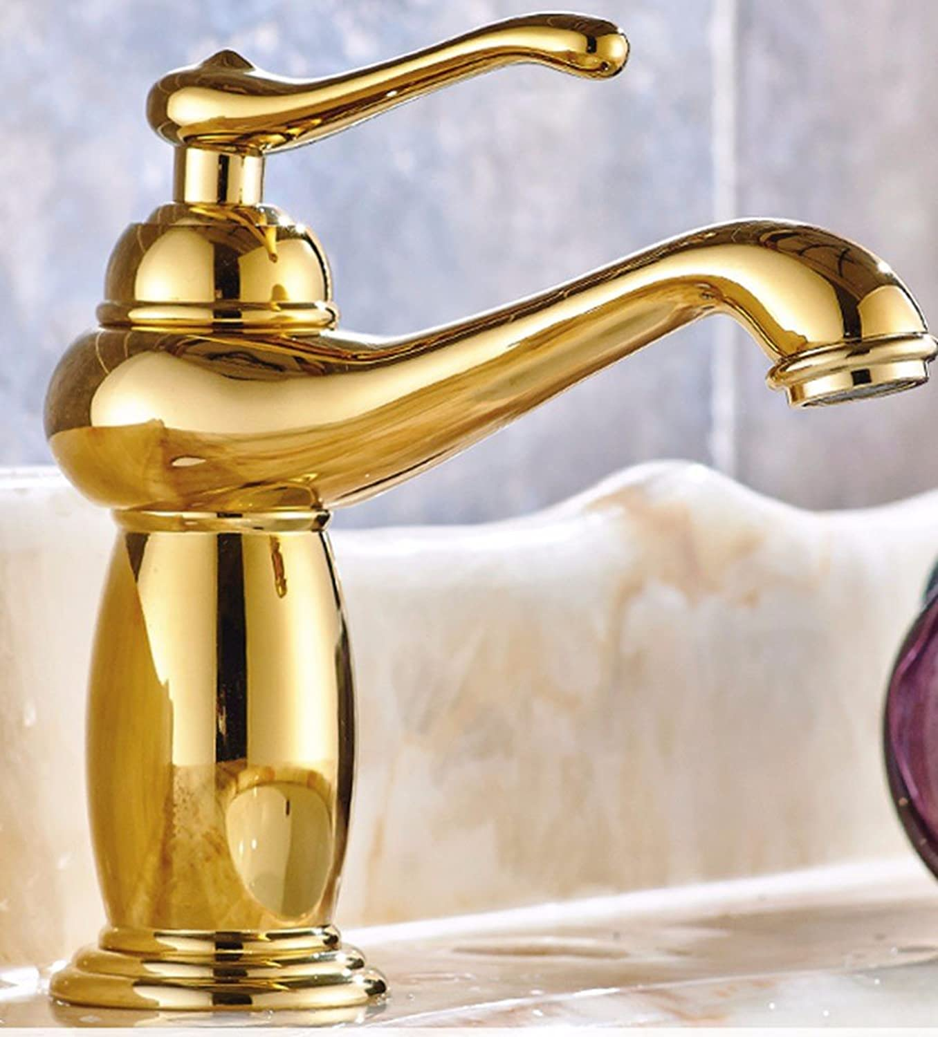 SCLOTHS Bathroom Basin Sink Mixer Tap Faucet Modern Copper Retro gold sink porcelain hot and cold Swivel Chrome Plated