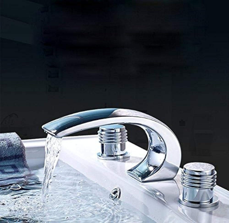 Alle Kupfer Doppel Drei Loch Wasserhahn Antik Waschbecken Wasserhahn Badezimmer Badezimmer heies und kaltes Wasser Wasserfall Wasserhahn