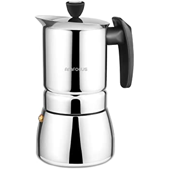 AMFOCUS Stovetop Espresso Coffee Maker - Stainless Steel Moka Pot 6 Cups Espresso Pot 300ml/10oz/6 Cup (1 Cup=50ml)