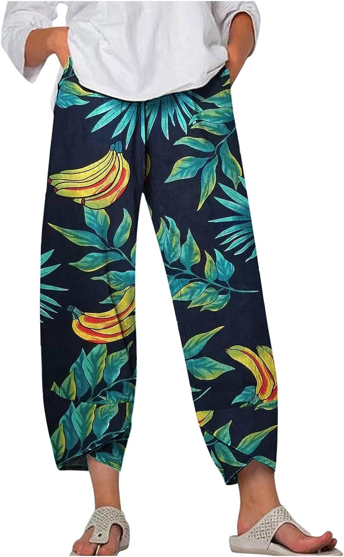 Women Casual Loose Cotton Linen Pants Floral Elastic Waist Comfy Lightweight Trousers Boho Harem Sweatpants with Pockets