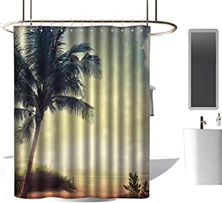 "shower curtains under 10 dollars Hawaiian Decorations Collection,Natural Beach Sunset with Palm Silhouettes Shrubs Sea Clouds and Sand Landscape,Teal Brown ,W72"" x L96"",shower curtain for bathroom"