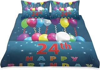 ZORMIEY Ropa de Cama - Juego de Funda nórdica,Impresión Colorida de la Fiesta de cumpleaños 24,Juego de Funda de Almohada con Funda de Colcha de Fibra extrafina Multicolor