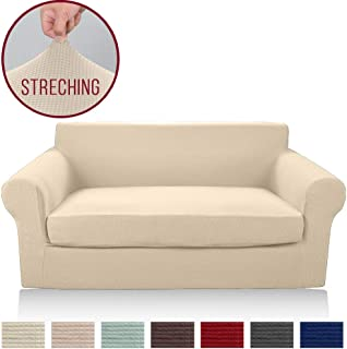 Moyeno 2-Piece Loveseat Cover High Stretch Jacquard Slipcovers, Durable Sofa Cover with Separate Cushion Cover Furniture Protector for Sofa, Couch Covers for Kids Pets (Beige, Loveseat)