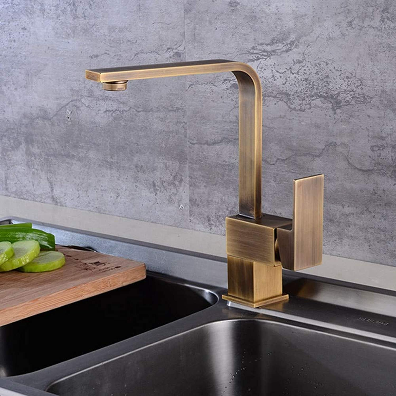 FZHLR Kitchen Sink Faucets Antique Brass Finish Brass Crane Kitchen Faucets Hot Cold Water Mixer Tap Single Hole Mixer Taps360 Degree Swivel Torneira