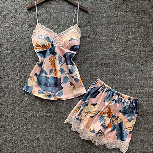 LLSS Summer Women Sexy Lace Pijamas Conjuntos con Pantalones Cortos Mujer Satén Estampado de Flores Seda Pijama Trajes de Noche Almohadillas para el Pecho
